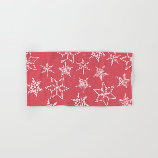 Snowflakes On Pastel Red Background Hand & Bath Towel