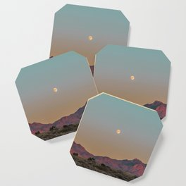 Sunset Moon Ridge // Grainy Red Mountain Range Desert Landscape Photography Yellow Fullmoon Blue Sky Coaster
