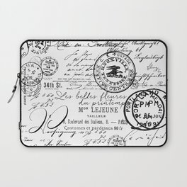 Vintage handwriting black and white Laptop Sleeve