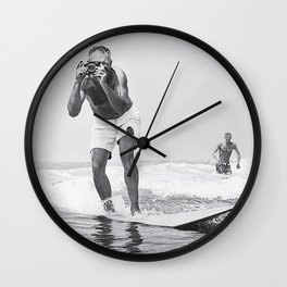 The Surfing Photographer Wall Clock