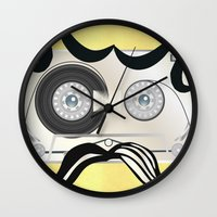 tape Wall Clocks featuring Tape Masculine by Texnotropio