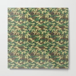 Military Camouflage Pattern - Brown Yellow Green  Metal Print