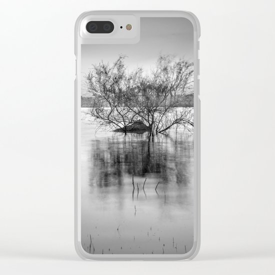 """""""Peace at the lake"""". Dream sunset. Monochrome Clear iPhone Case"""