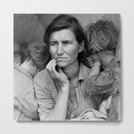 Migrant Mother by Dorothea Lange - The Great Depression Photo Metal Print