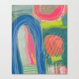 Shapes and Layers no.27 - Abstract Painting gouache and pastels Canvas Print