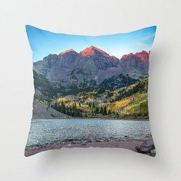 Maroon Bells Morning - Sunrise and Autumn Color near Aspen, Colorado Throw Pillow