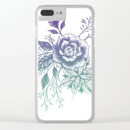 Mandala Floral - Teal to Purple Palette Clear iPhone Case