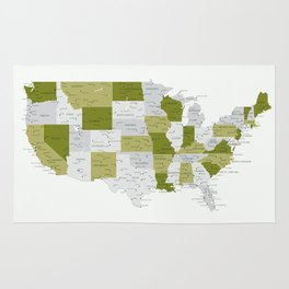Green and grey USA map with labels Rug
