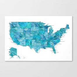 """Teal watercolor map of the USA with cities, """"Norvin"""" Canvas Print"""