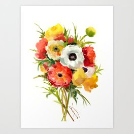 Flowers, Buttercups, orange red white yellow garden floral design Art Print