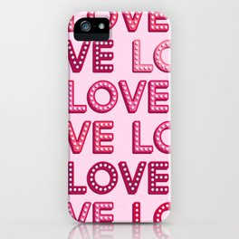 Vintage pink light bulbs LOVE letters pattern iPhone Case
