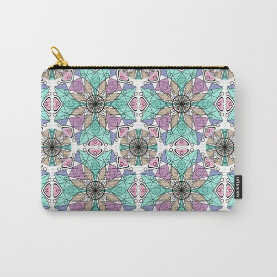 Turquoise pink abstract pattern . Carry-All Pouch