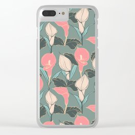Calla lilies pattern II. Clear iPhone Case