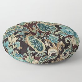 Brown Turquoise Paisley Floor Pillow