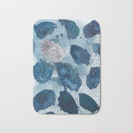 Abstract blue free form shapes no. 1 Bath Mat
