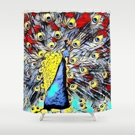 Color Kick - peacock Shower Curtain