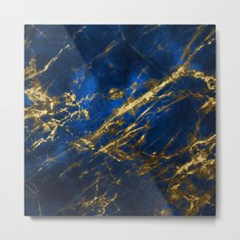 Blue Faux Marble With Gold Strike Veins Metal Print