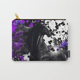 HORSE BLACK AND PURPLE THUNDER INK SPLASH Carry-All Pouch