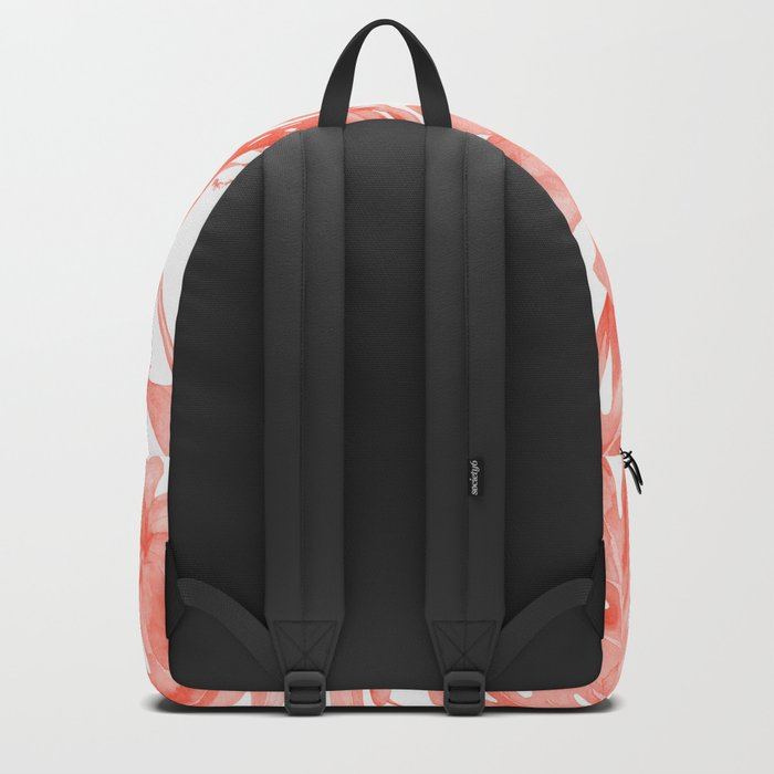 Tropical Hibiscus and Palm Leaves Dark Coral White Backpack