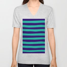 Navy Blue & Teal Stripes Pattern  Unisex V-Neck