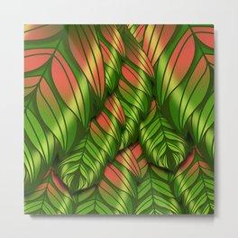 The Dusk Plumed Leaf Metal Print