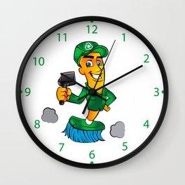 Broom cartoon Wall Clock