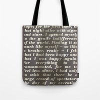 literary Tote Bags featuring Literary Quote Poster — The Stranger by Albert Camus by Evan Beltran