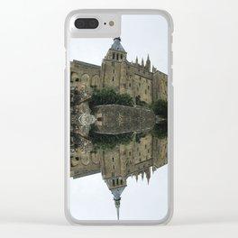 Mirrored landscape 2 Mont-Saint-Michel Clear iPhone Case