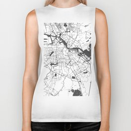 Amsterdam White on Gray Street Map Biker Tank