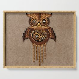 Steampunk Owl Vintage Style Serving Tray