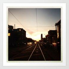 San Francisco Muni Njudah Sunset Silhouette  Art Print
