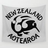new zealand Wall Tapestries featuring KIWI Aotearoa | New Zealand by mailboxdisco