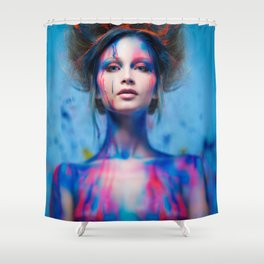 Young woman muse with creative body art and hairdo (5) Shower Curtain
