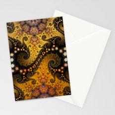 Golden dragon spirals and circles, fractal art Stationery Cards