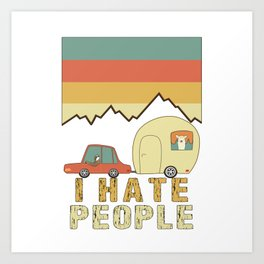 I Hate People Sloth & Llama Go Camping Art Print