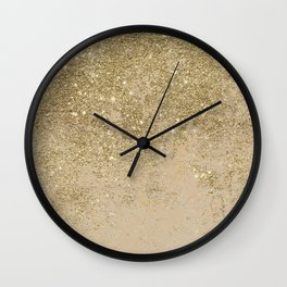 Girly trendy gold glitter ivory marble pattern Wall Clock