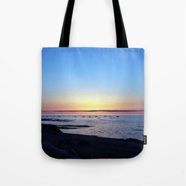 Sun Sets up the River, Across the Sea Tote Bag