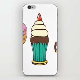Donuts and a Cupcake White Background iPhone Skin