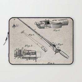 Fishing Rod Patent - Fishing Art - Antique Laptop Sleeve