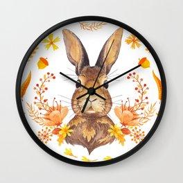 Autumn Rabbit Wall Clock