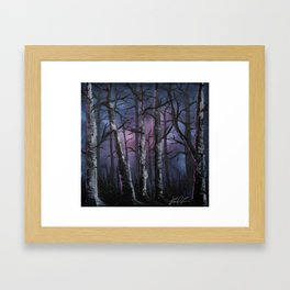 """into the woods"" a night forest landscape in oil Framed Art Print"