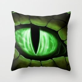 Green Dragon Eye Fantasy Painting Colorful Digital Illustration Throw Pillow