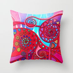 AURORA BOREALIS RED Throw Pillow