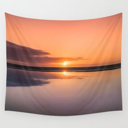 Mindfulness in the Sunrise Reflection at Mediterranean Sea in Valencia, Spain Wall Tapestry