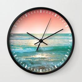 Aqua and Coral, 1 Wall Clock