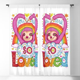 You are so loved - Cute Rainbow Sloth - Art by Thaneeya McArdle Blackout Curtain