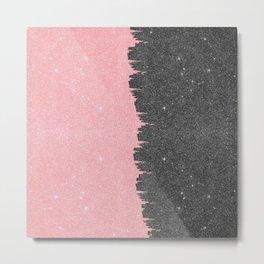 Pretty Girly Pink Black Faux Glitter Brushstroke Metal Print