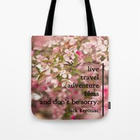 kerouac Tote Bags featuring rules of life - jack kerouac  by lissalaine