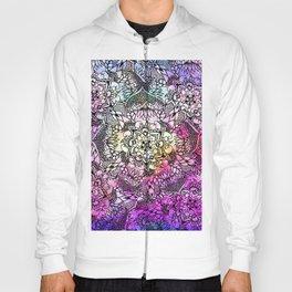 Modern black handdrawn floral mandala nebula paint Hoody