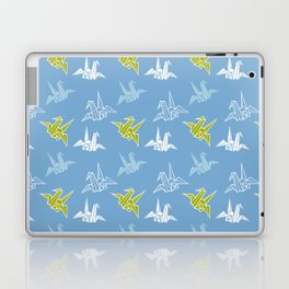 Blue Green Origami Crane Japanese Kimono Pattern Laptop & iPad Skin